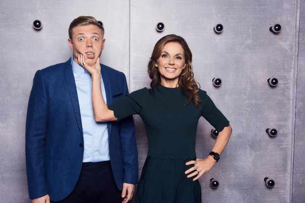 WARNING: Embargoed for publication until 00:00:01 on 23/01/2018 - Programme Name: All Together Now - TX: 27/01/2018 - Episode: n/a (No. n/a) - Picture Shows:  Rob Beckett, Geri Horner - (C) EndemolShine - Photographer: Ray Burmiston  BBC, TL