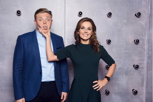 WARNING: Embargoed for publication until 00:00:01 on 23/01/2018 - Programme Name: All Together Now - TX: 27/01/2018 - Episode: n/a (No. n/a) - Picture Shows: Rob Beckett, Geri Horner - (C) EndemolShine - Photographer: Ray BurmistonBBC, TL