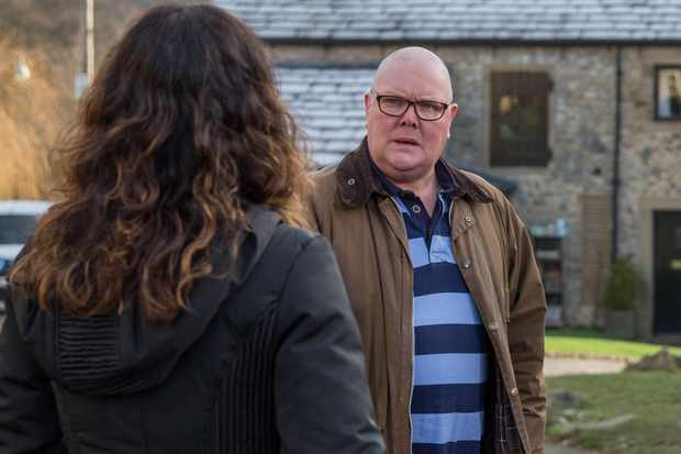 FROM ITV   STRICT EMBARGO  Print media - No Use Before Tuesday 23 January 2018 Online Media -  No Use Before 0700hrs Tuesday 23 January 2018  Emmerdale - Ep 8056  Tuesday 30 January 2018  Paddy Kirk [DOMINIC BRUNT] is confused as he spots Rhona Goskirk [ZOE HENRY] leaving Pete Barton's [ANTHONY QUINALN] in the same clothes as yesterday, and the penny drops.   Picture contact - david.crook@itv.com  Photographer - Amy Brammall  This photograph is (C) ITV Plc and can only be reproduced for editorial purposes directly in connection with the programme or event mentioned above, or ITV plc. Once made available by ITV plc Picture Desk, this photograph can be reproduced once only up until the transmission [TX] date and no reproduction fee will be charged. Any subsequent usage may incur a fee. This photograph must not be manipulated [excluding basic cropping] in a manner which alters the visual appearance of the person photographed deemed detrimental or inappropriate by ITV plc Picture Desk. This photograph must not be syndicated to any other company, publication or website, or permanently archived, without the express written permission of ITV Plc Picture Desk. Full Terms and conditions are available on the website www.itvpictures.com