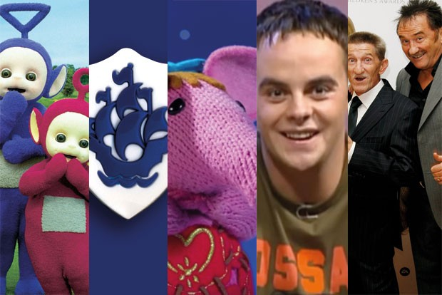 Teletubs BBC Pics, Blue Peter logo BBC pics, Clangers screengrab https://www.youtube.com/watch?v=WLLNy0-8LNg, SMTV screengrab https://www.youtube.com/watch?v=yIQHME1sLbM&feature=youtu.be&t=5m24s, Chuckle Brothers Getty  TL