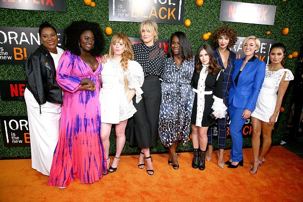 "NEW YORK, NY - JUNE 09:  (L-R)  Adrienne C. Moore, Danielle Brooks, Natasha Lyonee, Taylor Schilling, Uzo Aduba, Yael Stone, Jackie Cruz, Lauren Morelli ,Diane Guerrero and Kimiko Glenn attend the ""Orange Is The New Black"" Season 5 Celebration at Catch on June 9, 2017 in New York City.  (Photo by Paul Zimmerman/WireImage)"