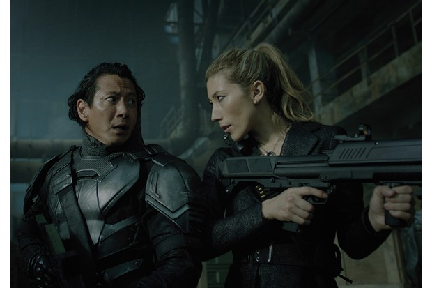Will Yun Lee and Dichen Lachman in Altered Carbon