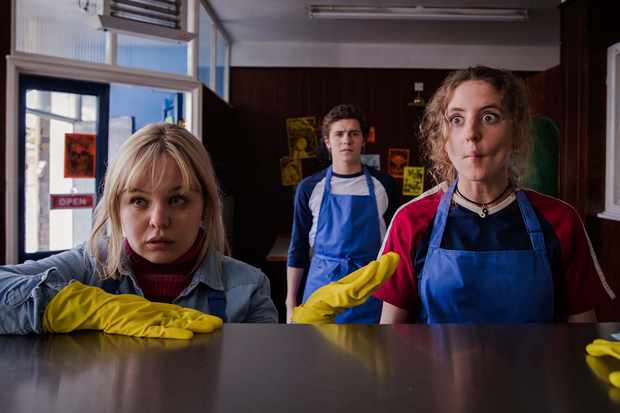 Clare Devlin (Nicola Coughlan), James Maguire (Dylan Llewellyn) and Orla McCool (Louisa Harland) in Derry Girls episode 2