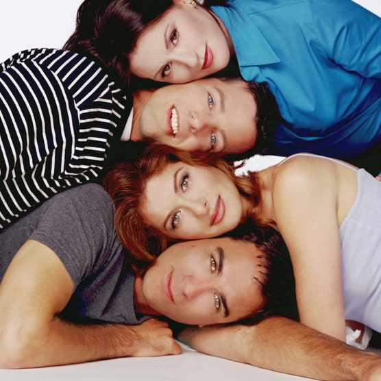 WILL & GRACE -- Season 3 -- Pictured: (Top to bottom) Megan Mullally as Karen Walker, Sean Hayes as Jack McFarland, Debra Messing as Grace Adler, Eric McCormack as Will Truman -- Photo by: Chris Haston/NBCU Photo Bank