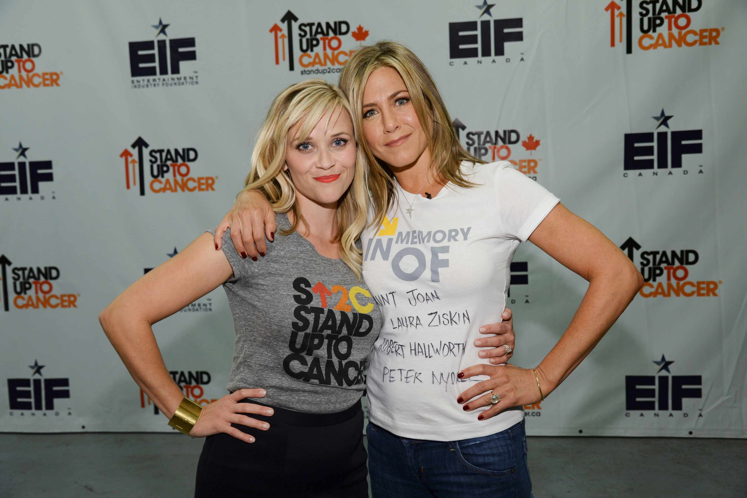 HOLLYWOOD, CA - SEPTEMBER 05:  REESE WITHERSPOON, JENNIFER ANISTON attend Stand Up To Cancer (SU2C), a program of the Entertainment Industry Foundation (EIF), staging its fourth biennial fundraising telecast at the at the Dolby Theatre on Friday September 5, 2014 (8:00-9:00 p.m., ET/PT) in Hollywood California. (Photo by Kevin Mazur/American Broadcasting Companies Inc via WireImage, BA)