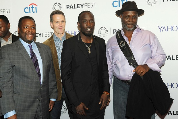 """NEW YORK, NY - OCTOBER 16:  Wendell Pierce, Bob Wisdom, Jim True-Frost and Michael Kenneth Williams attends the 2nd Annual Paleyfest New York Presents: """"The Wire"""" Reunion at Paley Center For Media on October 16, 2014 in New York, New York.  (Photo by Bobby Bank/FilmMagic)"""