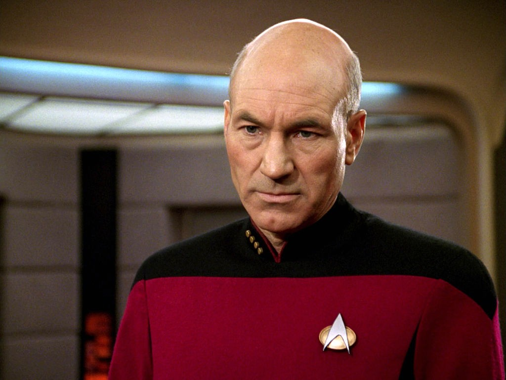 "LOS ANGELES - JANUARY 8: Patrick Stewart as Captain Jean-Luc Picard in the STAR TREK: THE NEXT GENERATION episode, ""The Hunted."" Season 3, episode 11.  Original air date, January 8, 1990.  (Photo by CBS via Getty Images, BA)"