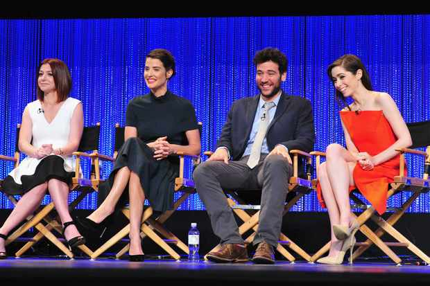 "HOLLYWOOD, CA - MARCH 15:  (L-R) Actors Alyson Hannigan, Cobie Smulders, Josh Radnor and Christin Milloti on stage at The Paley Center For Media's PaleyFest 2014 Honoring ""How I Met Your Mother"" Series Farewell at Dolby Theatre on March 15, 2014 in Hollywood, California.  (Photo by Frazer Harrison/Getty Images)"