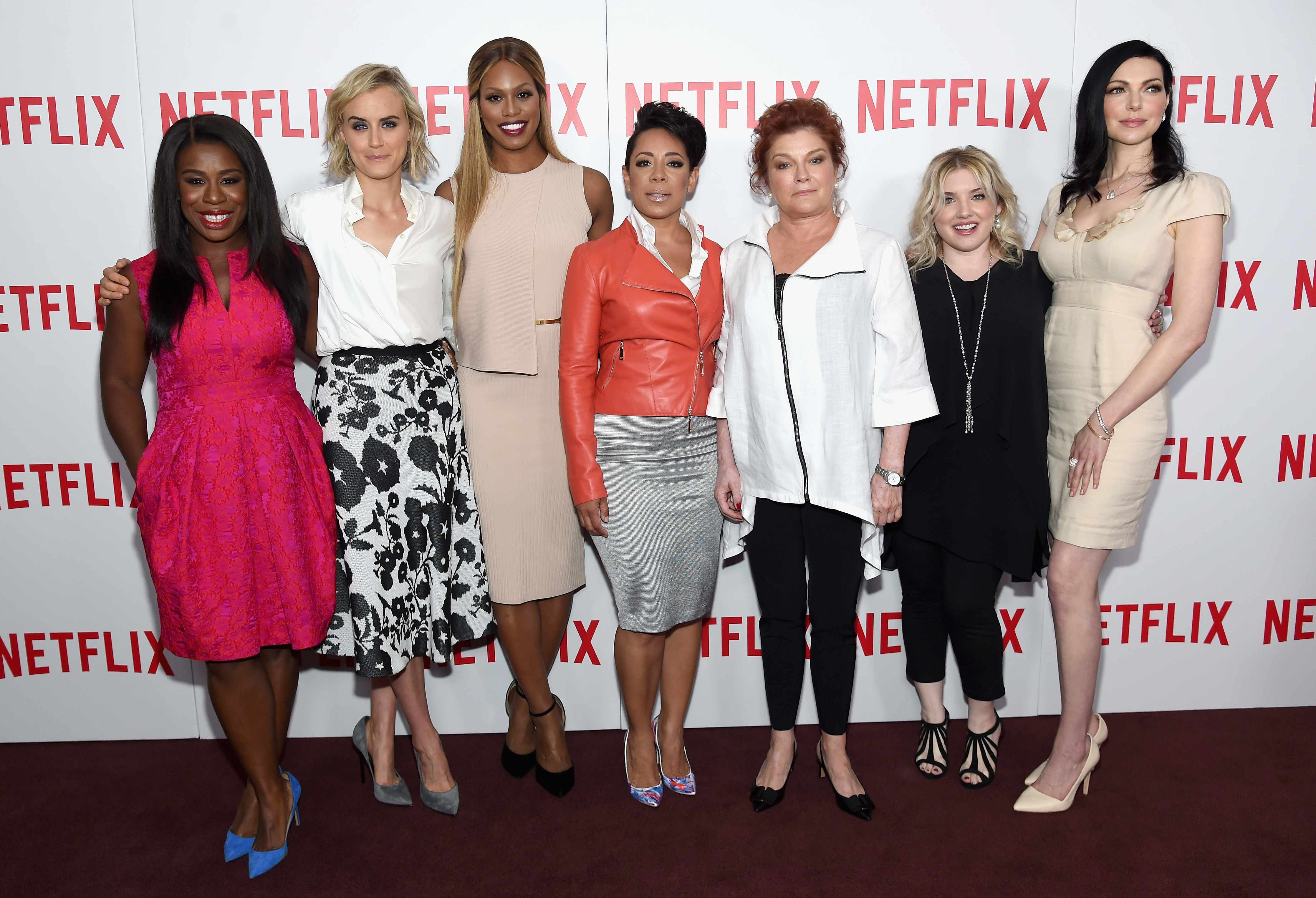 """NEW YORK, NY - AUGUST 11:  (L-R) Actresses Uzo Aduba, Taylor Schilling, Laverne Cox, Selenis Leyva, and Kate Mulgrew, casting director Jennifer Euston, and actress Laura Prepon attend the """"Orange Is The New Black"""" FYC screening at DGA Theater on August 11, 2015 in New York City.  (Photo by Jamie McCarthy/Getty Images)"""