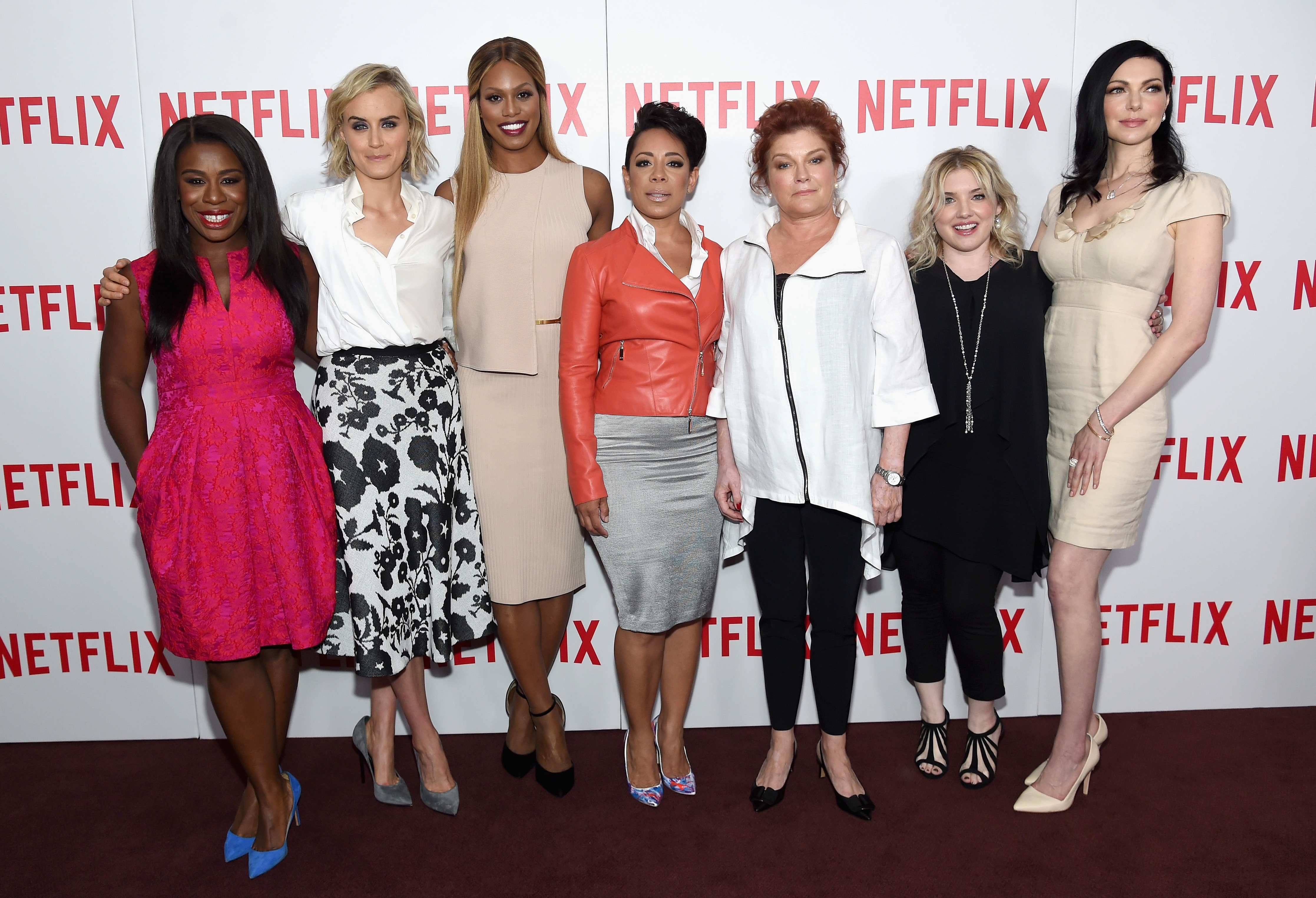 "NEW YORK, NY - AUGUST 11:  (L-R) Actresses Uzo Aduba, Taylor Schilling, Laverne Cox, Selenis Leyva, and Kate Mulgrew, casting director Jennifer Euston, and actress Laura Prepon attend the ""Orange Is The New Black"" FYC screening at DGA Theater on August 11, 2015 in New York City.  (Photo by Jamie McCarthy/Getty Images)"
