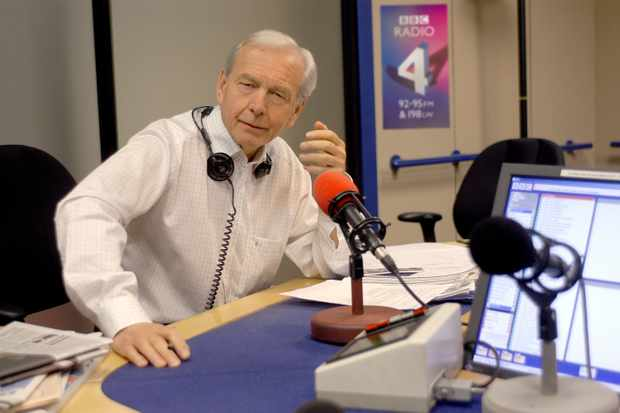 John Humphrys (next to studio microphones), one of the presenters of the Today radio programme (the news and current affairs programme), which is broadcast on BBC Radio 4 (BBC Radio Four) each weekday morning 6-9am and on saturday's 7-9am. (Photo by Jeff Overs/BBC News & Current Affairs via Getty Images)