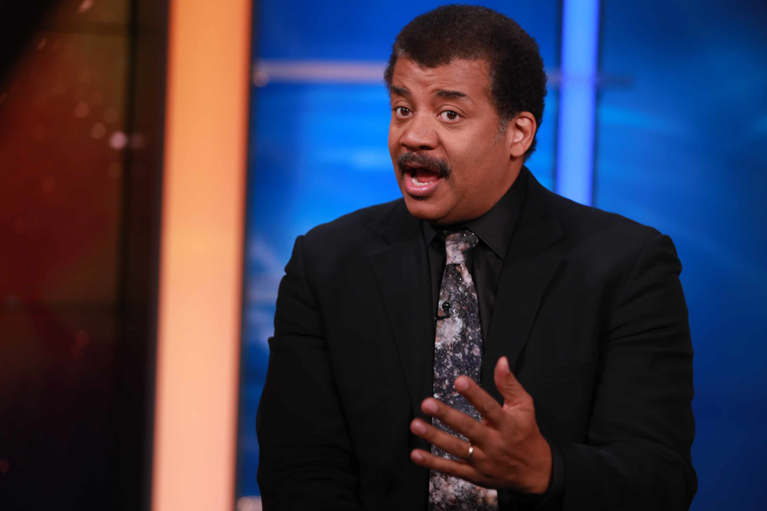 "SQUAWK BOX -- Pictured:  ""StarTalk""'s Neil deGrasse Tyson, Director of the Hayden Planetarium in New York City, in an interview on October 23, 2015 -- (Photo by: Katie Kramer/CNBC/NBCU Photo Bank via Getty Images)"