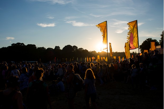 SOUTHWOLD, ENGLAND - JULY 17: A general view of the crowd watching a performance on the Obelisk Arena Stage at sunset at Latitude Festival at Henham Park Estate on July 17, 2016 in Southwold, England. (Photo by Matthew Baker/Getty Images)