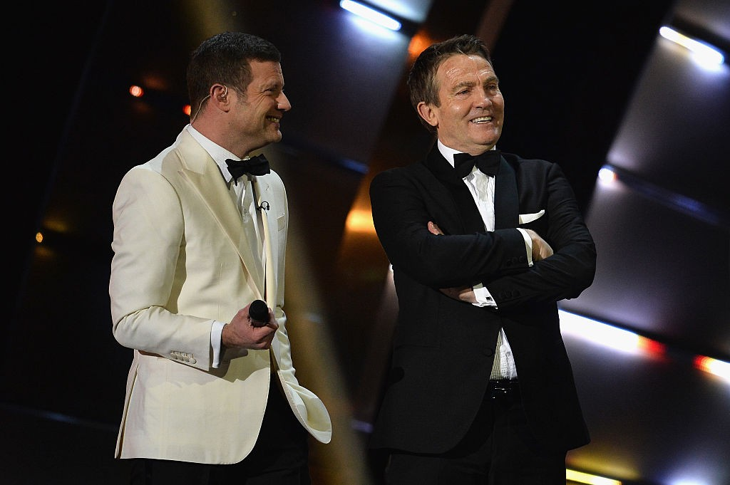 LONDON, ENGLAND - JANUARY 25:  Bradley Walsh and Dermot O'Leary (L) on stage at the National Television Awards at The O2 Arena on January 25, 2017 in London, England.  (Photo by Jeff Spicer/Getty Images, BA)