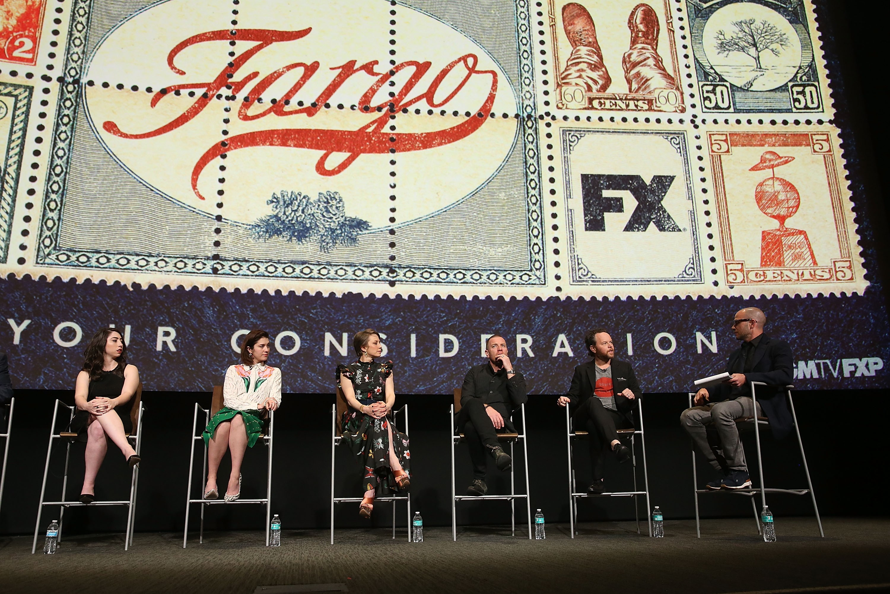 """NORTH HOLLYWOOD, CA - MAY 11:  (L-R) Actors Olivia Sandoval, Mary Elizabeth Winstead, Carrie Coon, Ewan McGregor, executive producer Noah Hawley and writer Damon Lindelof attend FX's """"Fargo"""" For Your Consideration Event on May 11, 2017 in North Hollywood, California.  (Photo by Jesse Grant/Getty Images)"""
