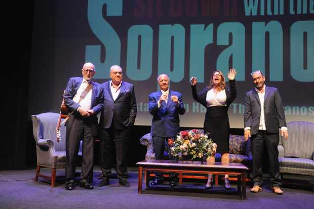 ROCKVILLE CENTRE, NY - JUNE 07:  Dominic Chianese, Tony Sirico,  Lorraine Bracco, Vincent Curatola and Johnny Ventimiglia attend the Shut Up & Sit Down With The Sopranos  at Molloy College on June 7, 2017 in Rockville Centre, New York.  (Photo by Bobby Bank/Getty Images)