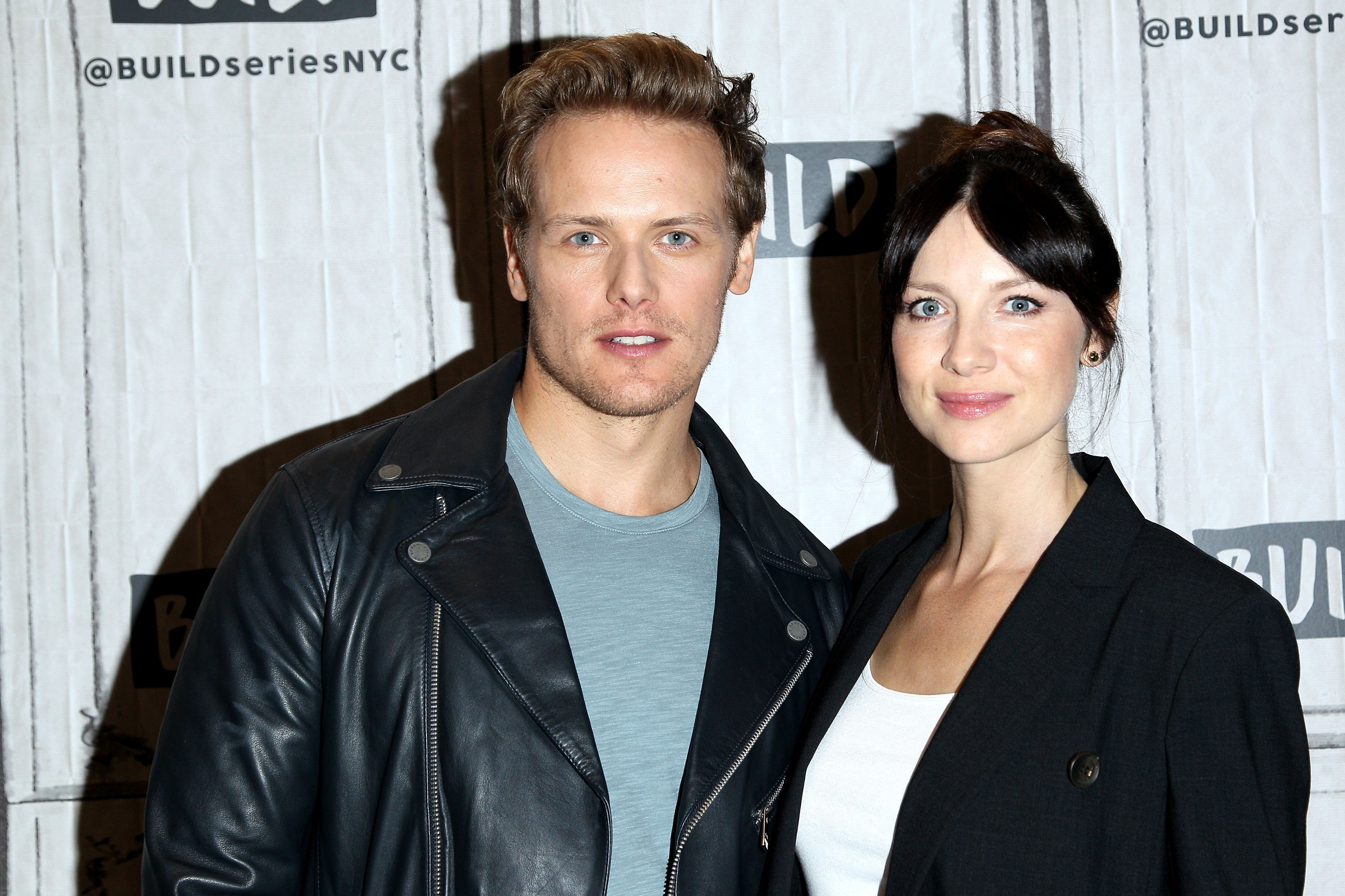 """NEW YORK, NY - SEPTEMBER 06:  Build presents Sam and Balfe Heughan discussing """"Outlander"""" at Build Studio on September 6, 2017 in New York City.  (Photo by Steve Mack/FilmMagic)"""