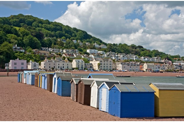 Teignmouth beach huts and Shaldon