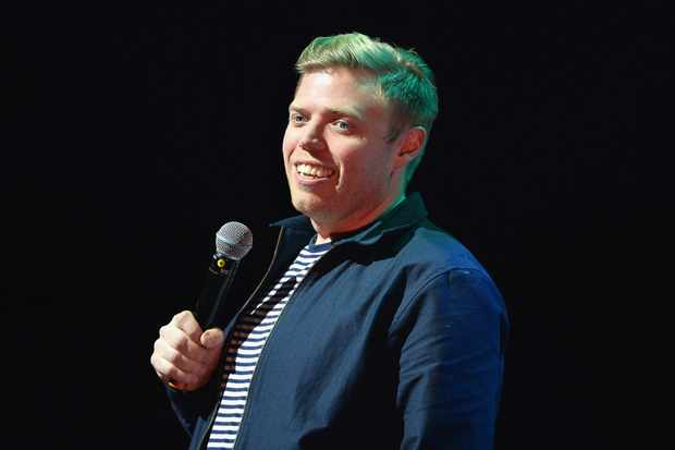 LONDON, ENGLAND - NOVEMBER 26:  Rob Beckett performs on stage at Absolute Radio Live in aid of Stand Up To Cancer at London Palladium on November 26, 2017 in London, England.  (Photo by Jeff Spicer/Getty Images)  Getty, TL