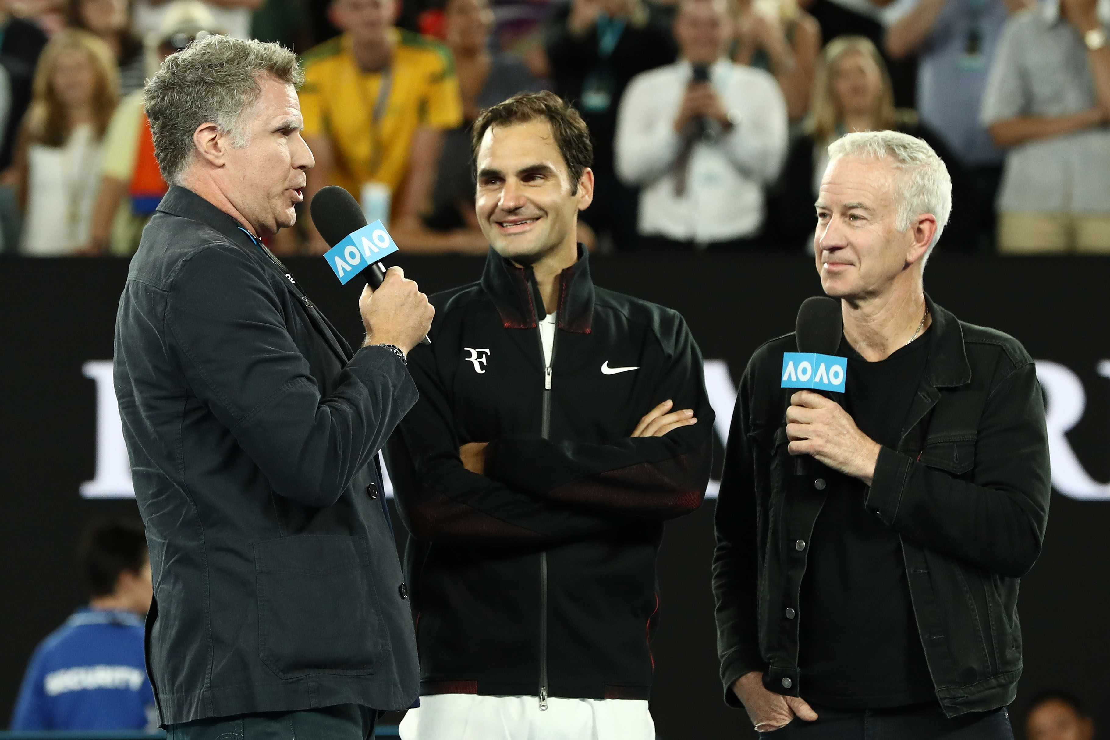 Will Ferrell, Roger Federer, John McEnroe at the Australian Open (Getty, EH)