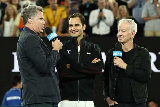 Will Ferrell, Roger Federer, John McEnroe at the Australian Open (Getty, EH)