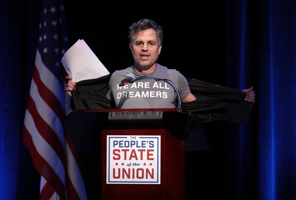 NEW YORK, NY - JANUARY 29:  Mark Ruffalo speaks onstage at The People's State Of The Union at Townhall on January 29, 2018 in New York City.  (Photo by Cindy Ord/Getty Images for We Stand United)