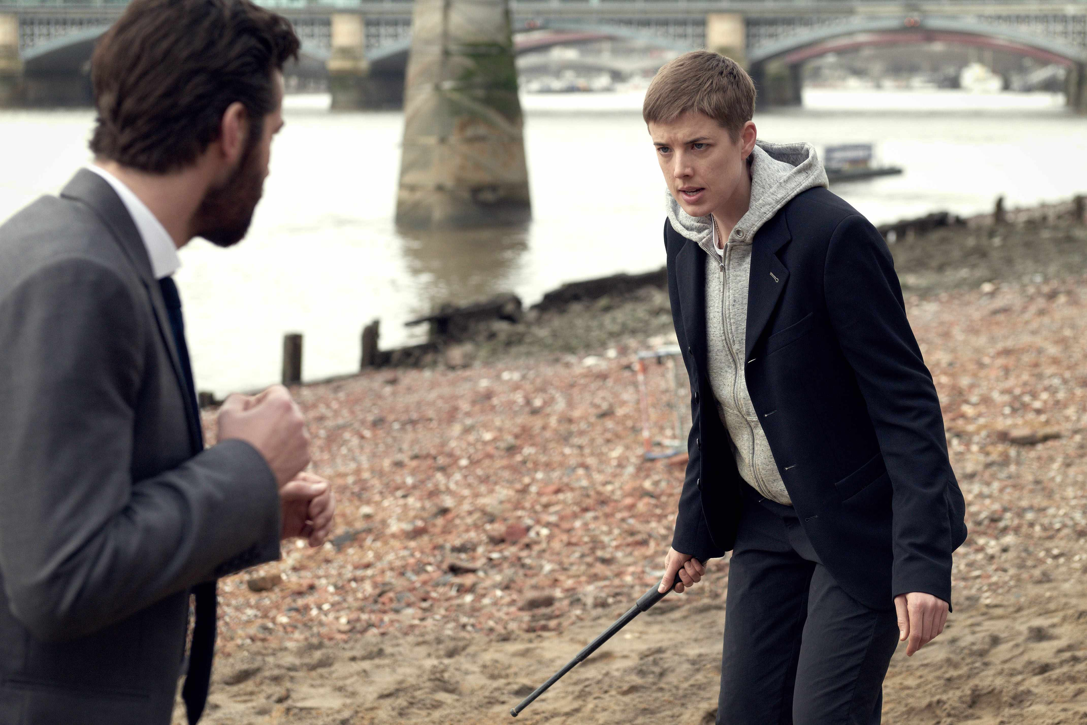 WARNING: Embargoed for publication until 00:00:01 on 29/12/2017 - Programme Name: Hard Sun - TX: n/a - Episode: n/a (No. 1) - Picture Shows: ***EMBARGOED UNTIL 29th DEC 2017*** Hicks (JIM STURGESS), Renko (AGYNESS DEYN) - (C) Euston Films - Photographer: Hal Shinnie