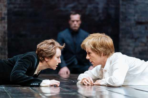Mary Stuart Lia Williams (Elizabeth) and Juliet Stevenson (Mary Stuart) in Mary Stuart at the Duke of York's. Photo by Manuel Harlan.