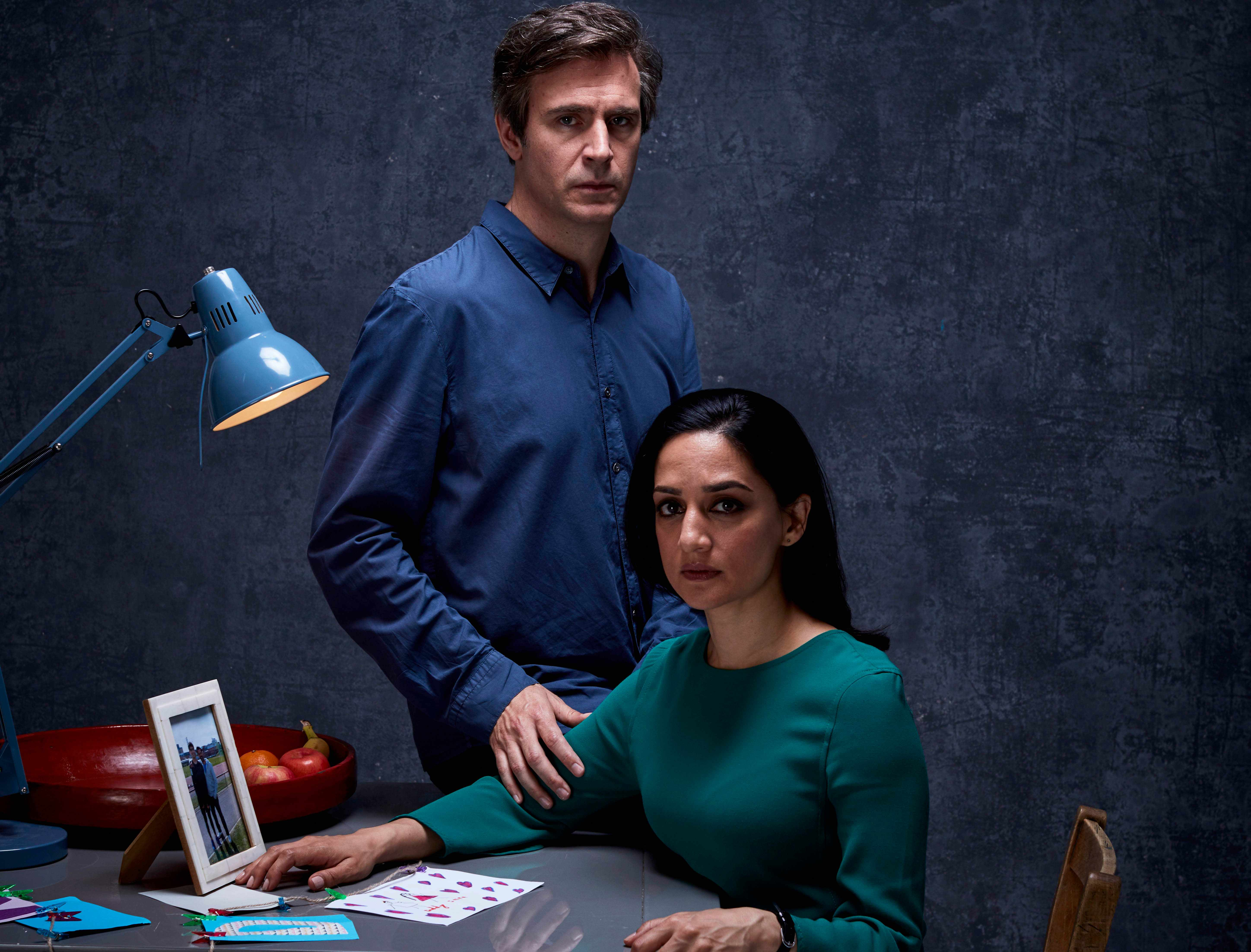 MAMMOTH SCREEN FOR ITV  NEXT OF KIN on ITV1  Pictured: JACK DAVENPORT as Guy Harcourt and ARCHIE PSNJSBI as Mona Shirani  Episode 2  This photograph is (C) iTV and can only be reproduced for editorial purposes directly in connection with the programme or event mentioned above. Once made available by ITV plc Picture Desk, this photograph can be reproduced once only up until the transmission [TX] date and no reproduction fee will be charged. Any subsequent usage may incur a fee. This photograph must not be manipulated [excluding basic cropping] in a manner which alters the visual appearance of the person photographed deemed detrimental or inappropriate by ITV plc Picture Desk.  This photograph must not be syndicated to any other company, publication or website, or permanently archived, without the express written permission of ITV Plc Picture Desk. Full Terms and conditions are available on the website www.itvpictures.com  For further information please contact: Patrick.smith@itv.com 0207 1573044