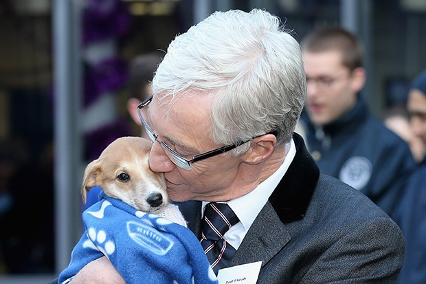 Paul O'Grady with a dog