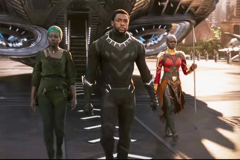 Chadwick Boseman, Lupita Nyong'o and Danai Gurira in Black Panther (Marvel, HF)