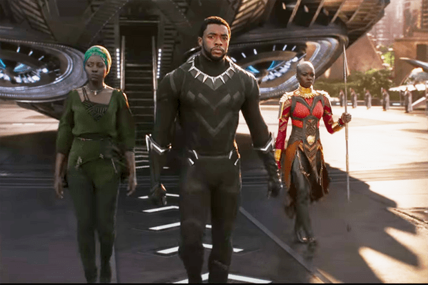 Chadwick Boseman, Lupita Nyong'o and Danai Gurira in Black Panther (Marvel, HF)