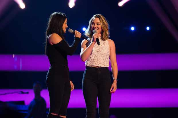 This image and the information contained herein is strictly embargoed until 21.30 Friday 12th January 2018  From ITV Studios  The Voice UK: SR2: Ep2 on ITV  Pictured: Belle Voci [Sophie & Emily] perform.  This photograph is (C) ITV Plc and can only be reproduced for editorial purposes directly in connection with the programme or event mentioned above, or ITV plc. Once made available by ITV plc Picture Desk, this photograph can be reproduced once only up until the transmission [TX] date and no reproduction fee will be charged. Any subsequent usage may incur a fee. This photograph must not be manipulated [excluding basic cropping] in a manner which alters the visual appearance of the person photographed deemed detrimental or inappropriate by ITV plc Picture Desk.  This photograph must not be syndicated to any other company, publication or website, or permanently archived, without the express written permission of ITV Plc Picture Desk. Full Terms and conditions are available on the website www.itvpictures.co.uk  For further information please contact: james.hilder@itv.com / 0207 157 3052