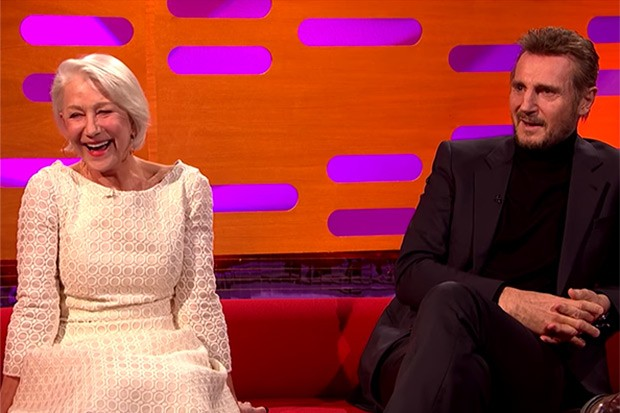 Helen Mirren and Liam Neeson, YouTube screenshot, SL