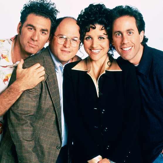 Cast of Seinfeld in potrait image.