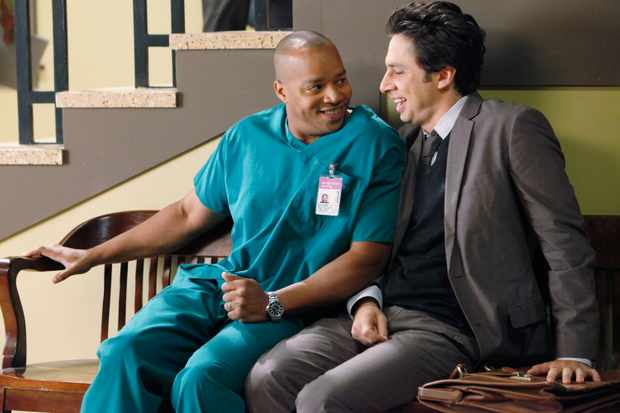 "SCRUBS - ""Our Drunk Friend"" -- Lucy learns a hard earned lesson about what it takes to be a doctor. Meanwhile J.D. and Turk spot a potential love connection between Denise and the new med student, Drew, as they play matchmakers with a little bit of help from Dr. Kelso, on ""Scrubs,"" TUESDAY, DECEMBER 1 (9:30-10:00 p.m., ET), on the ABC Television Network. (ABC/KAREN NEAL) DONALD FAISON, ZACH BRAFF"