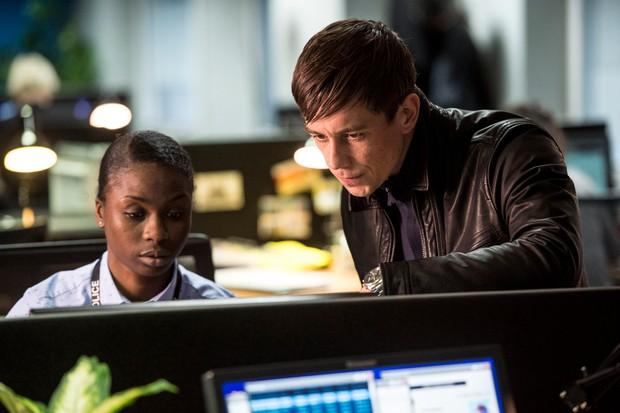 Ann Akin as DS Ekwensi and Killian Scott as DI Eric Wardle in Strike: Career of Evil (BBC, HF)