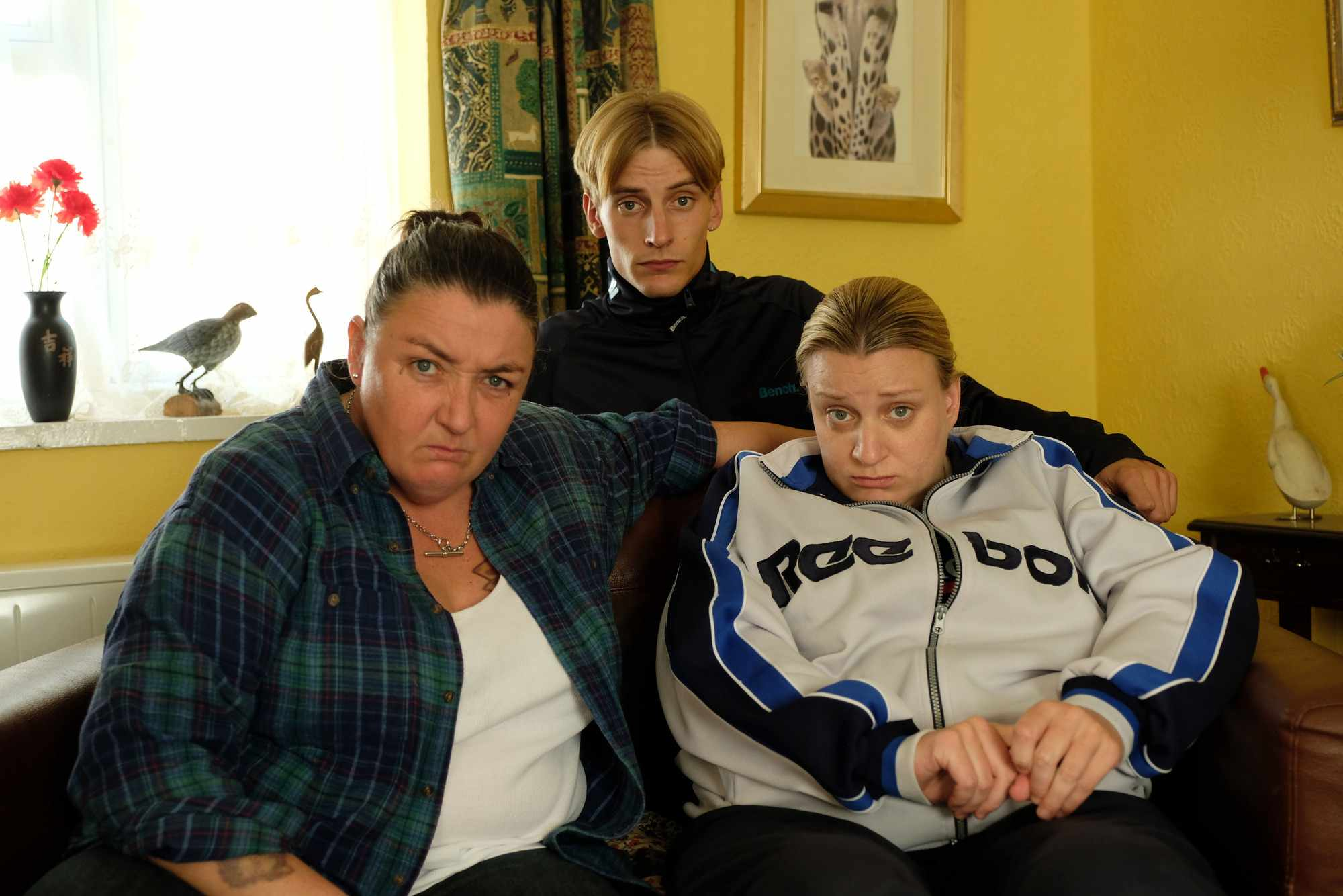 Big Mandy (ASHLEY MCGUIRE), Kurtan (CHARLIE COOPER), Kerry (DAISY MAY COOPER) in This Country