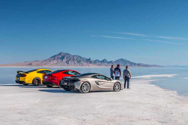 Matt LeBlanc, Rory Reid and Chris Harris with the Hennessey Mustang 350 GTR, Jaguar F-Type SVR and the McLaren 570 GT at Bonneville Salt Flats, Utah