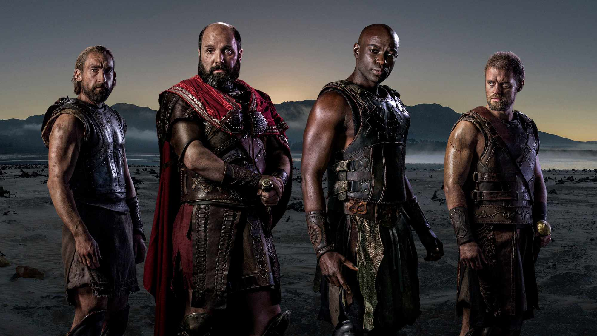 WARNING: Embargoed for publication until 00:00:01 on 13/02/2018 - Programme Name: Troy - Fall of a City - TX: n/a - Episode: Troy - Fall of a City generics (No. n/a) - Picture Shows:  Menelaus (JONAS ARMSTRONG), Achilles (DAVID GYASI), Agamemnon (JOHNNY HARRIS), Odysseus (JOSEPH MAWLE) - (C) Wild Mercury Productions - Photographer: Graham Bartholomew