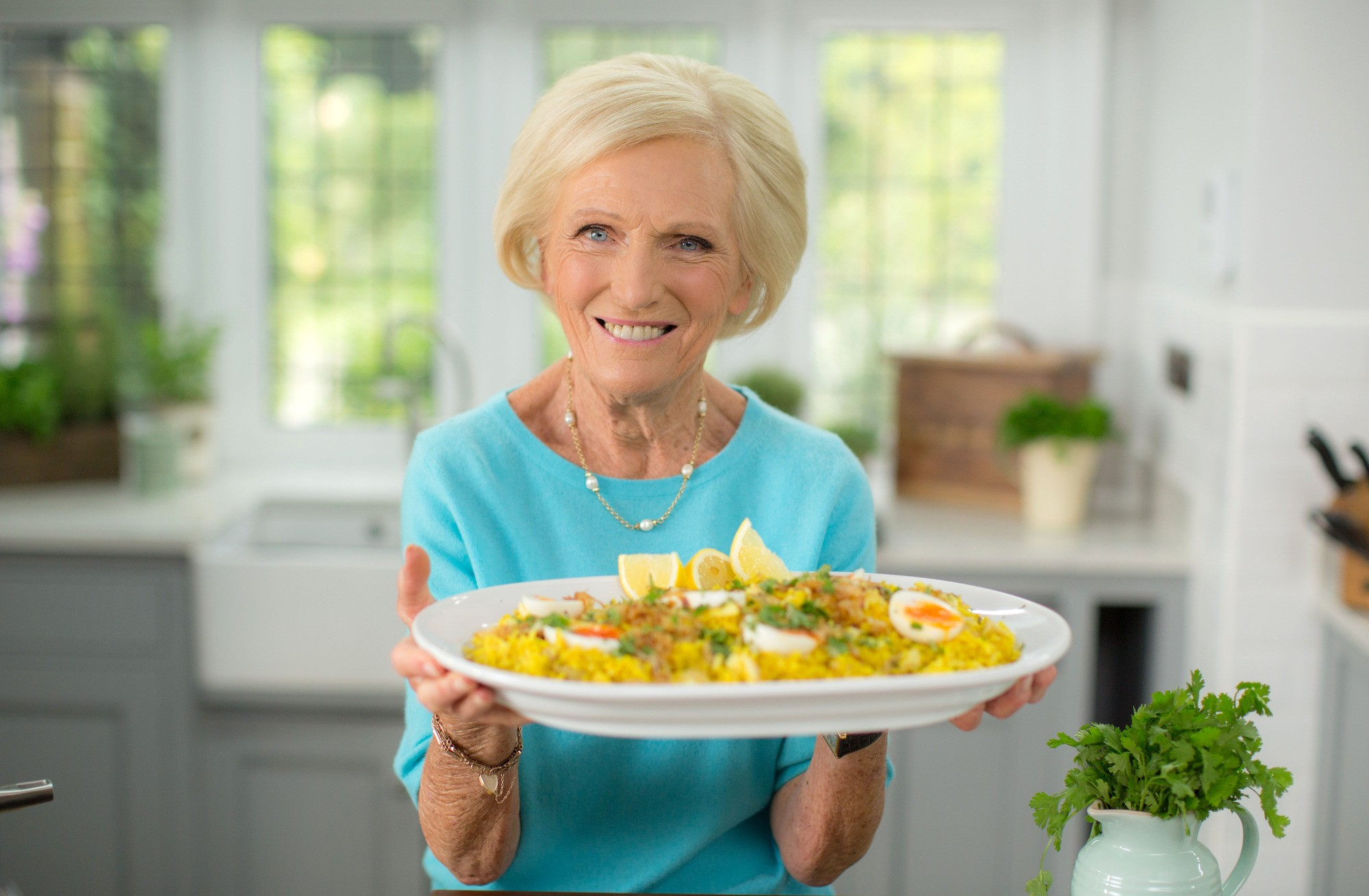 Programme Name: Classic Mary Berry - TX: 05/03/2018 - Episode: Light, Easy & Delicious (No. 2 - Light, Easy & Delicious) - Picture Shows: with her Kedgeree Mary Berry - (C) Endemol Shine UK - Photographer: Production  BBC, TL