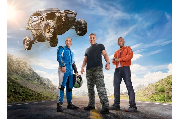Rory Reid, Matt LeBlanc, Chris Harris pose in the new Top Gear poster