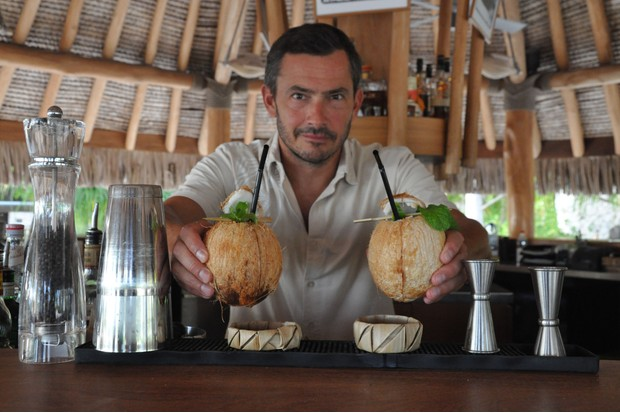 Making drinks at the bar at The Brando Hotel