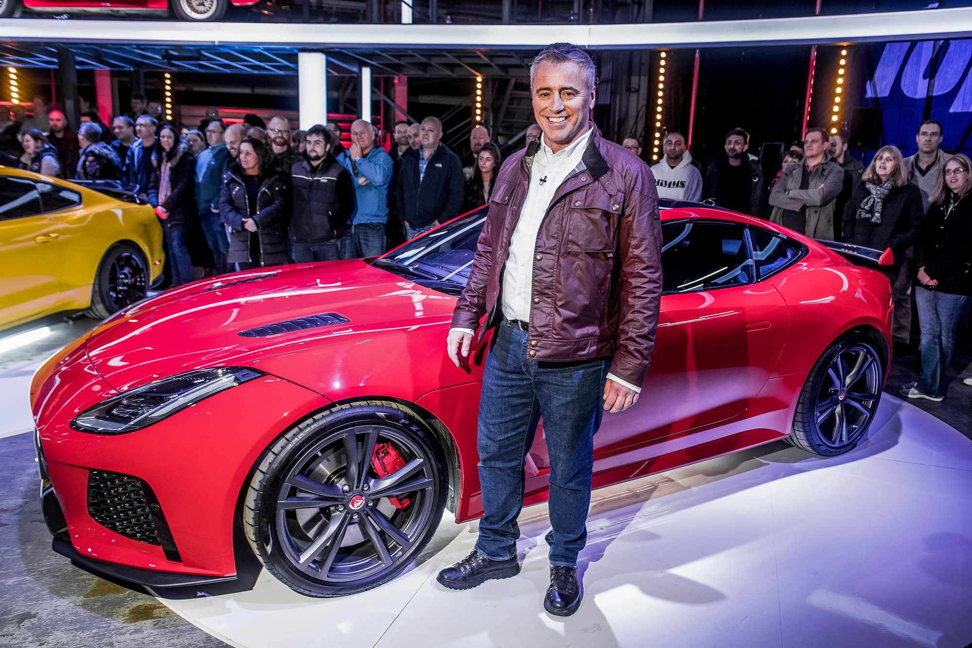 WARNING: Embargoed for publication until 00:00:01 on 20/02/2018 - Programme Name: Top Gear - TX: 25/02/2018 - Episode: n/a (No. n/a) - Picture Shows: Matt LeBlanc with a Jaguar F-Type SVR Matt LeBlanc - (C) BBC - Photographer: Jeff Spicer  BBC, TL