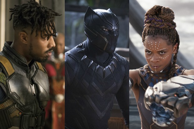 Michael B Jordan, Chadwick Boseman and Letitia Wright in Black Panther (Marvel, HF)