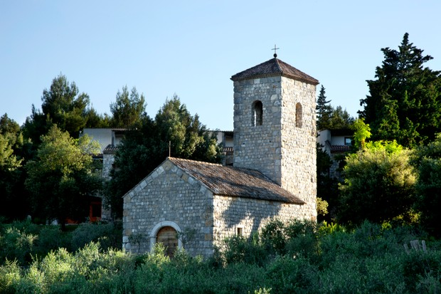 The belltower of the church; you can even get married at Aquapetra