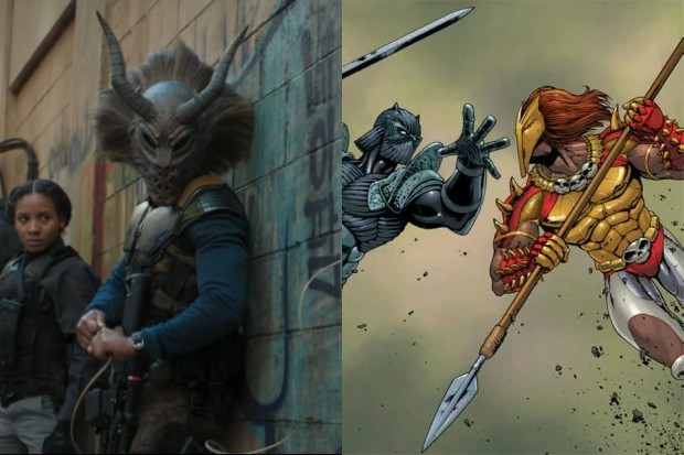 Michael B Jordan's Killmonger in Black Panther, and an earlier version of the character (Marvel, HF)