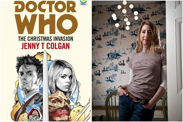 Jenny T Colgan with her Doctor Who Targaet novel The Christmas Invasion (BBC Books, Getty, HF)