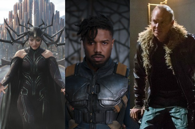 Cate Blanchett as Hela, Michael B Jordan as Killmonger and Michael Keaton as Vulture in various Marvel films (Disney, HF)