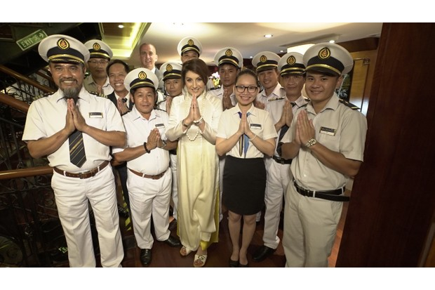 With the crew of the Amadara